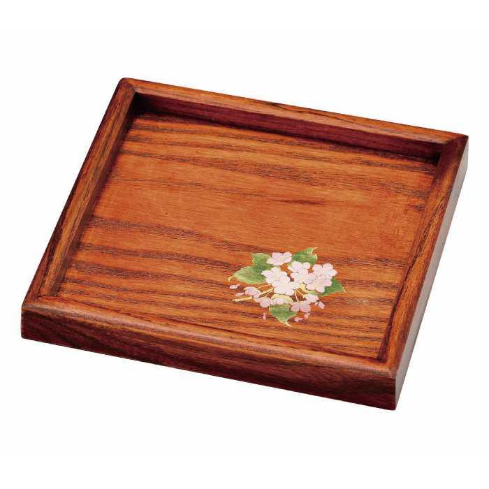 高い素材 福島県会津地方に伝わる伝統工芸品です 20-52-19 人気の製品 ケヤキ塗 ミニ角盆 漆 桜