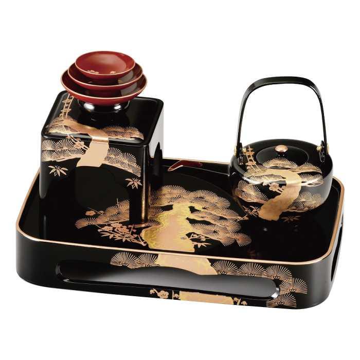 福島県会津地方に伝わる伝統工芸品です オリジナル 20-79-1 今季も再入荷 黒 四ツ揃屠蘇器 松クリ 老松
