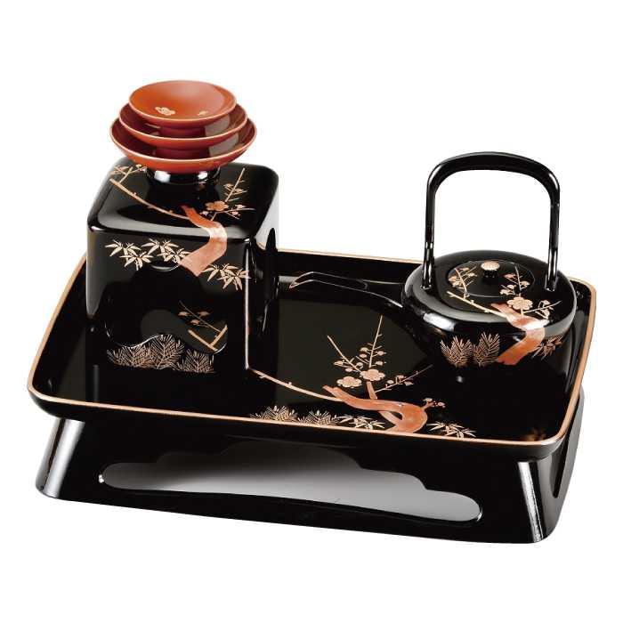 2020モデル 福島県会津地方に伝わる伝統工芸品です 20-79-2 黒 新胴張 本店 梅台 四ツ揃