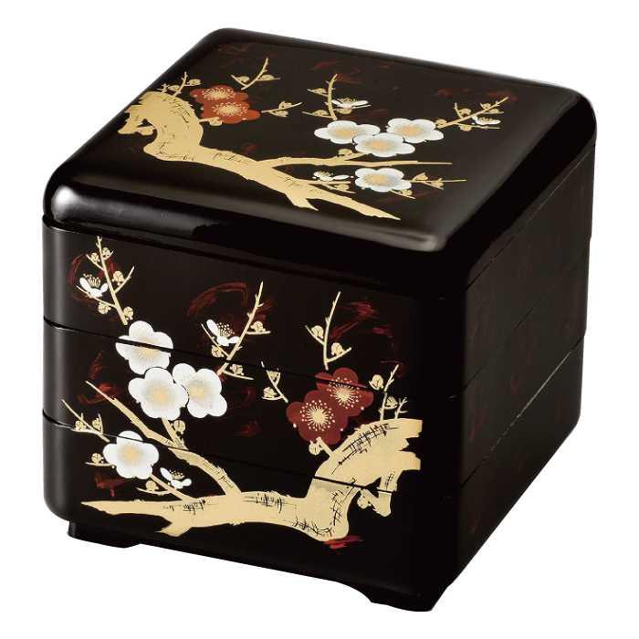 福島県会津地方に伝わる伝統工芸品です [20-82-8] 暁雲 6.5 緑型 三段重 梅