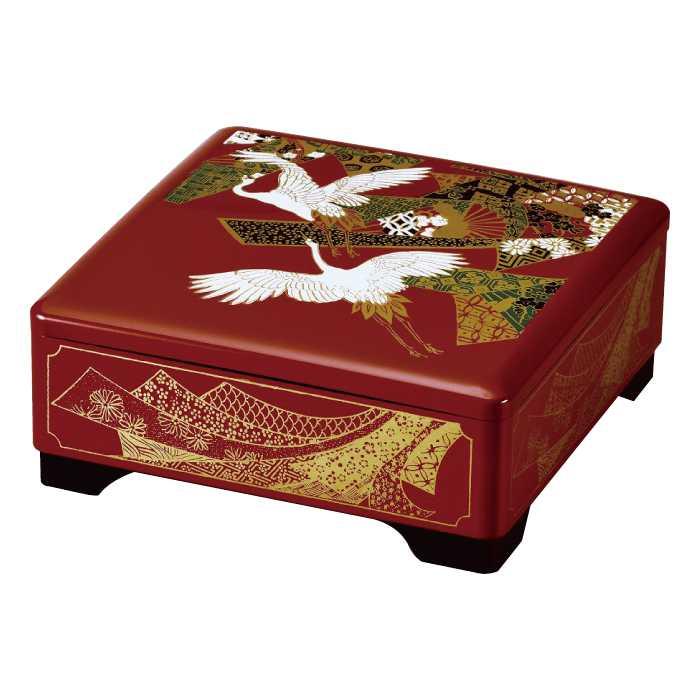 福島県会津地方に伝わる伝統工芸品です 20-85-8 格安 朱 友禅ツル メイルオーダー 6.5 一段重