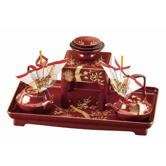 福島県会津地方に伝わる伝統工芸品です 20-87-1 朱 通信販売 17.0 手描 松竹梅 銚子飾り付 セール特別価格 婚礼セット