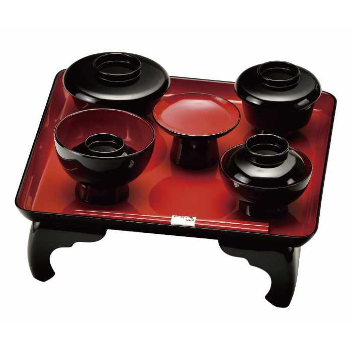 福島県会津地方に伝わる伝統工芸品です [20-89-6] 黒内朱 高足 喰初膳 箸付