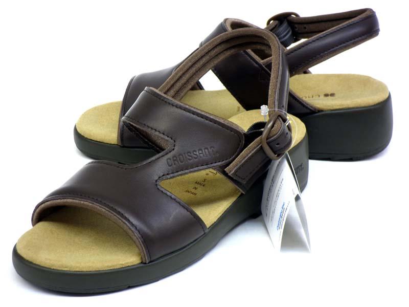 【CROISSANT】シンプルで履きやすい定番レディース本革サンダル クロワッサン CR4592 DBR:ミッキーシューズ