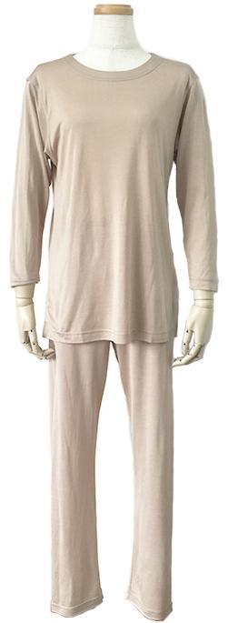 シルクニット長袖パジャマ (レディース)  ベージュシルク100% 絹 女性用 送料無料
