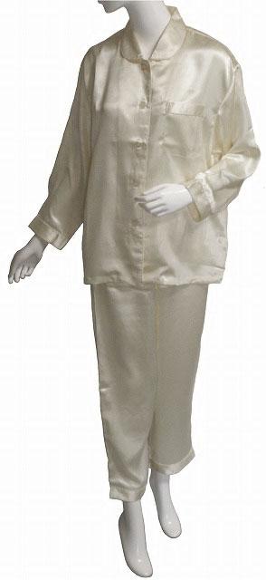 レディース丸衿シルクサテンパジャマ  アイボリー  【シルク100%】【絹100%】【送料無料】