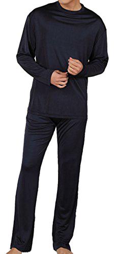 シンプルなデザインが魅力。シルク100%の紳士パジャマ (メンズ)  ネイビー