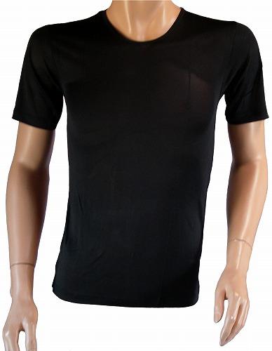 《2枚組》シルク100% シルクニット紳士(メンズ)半袖インナーシャツ ブラック【絹100%】【ネコポス対応可】
