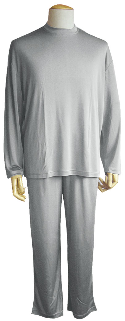 シルクニット長袖パジャマ (メンズ)  ライトグレー《シルク100%》