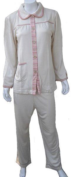 シルクパイル高級パジャマ (レディース/長袖/前開き)