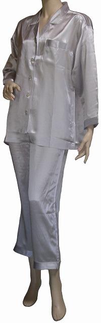 シルクサテンサテンパジャマ (レディース) シルバー 【シルク100%】【絹100%】【送料無料】
