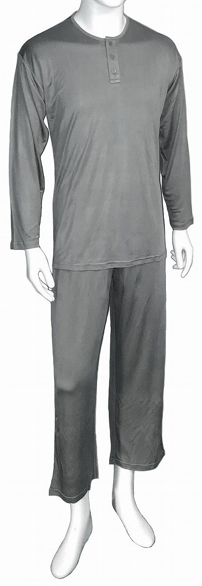 シルク100% 送料無料 メンズ シルクニット長袖ヘンリーネック パジャマ  ネイビー