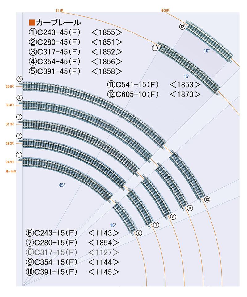 カーブレールC243-45(F)(4本セット)【TOMIX・1855】「鉄道模型 Nゲージ トミックス」