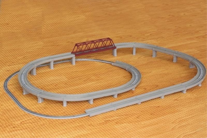 レールセットD単線立体交差セット 【ロクハン・R063】「鉄道模型 Zゲージ ロクハン」