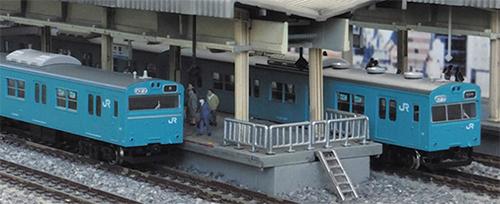 JR103系関西形スカイブルー 低運転台車 4両編成 動力付きトータルセット 【グリーンマックス・1232T】「鉄道模型 Nゲージ GREENMAX」