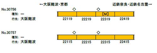 近鉄22000系ACE(リニューアル車) 増結4両編成セット(動力無し) 【グリーンマックス・30757】「鉄道模型 Nゲージ GREENMAX」