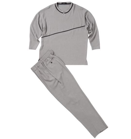 【送料無料】 大きいサイズ メンズ ジップクルーTシャツセット (グレー) (3L 4L 5L)