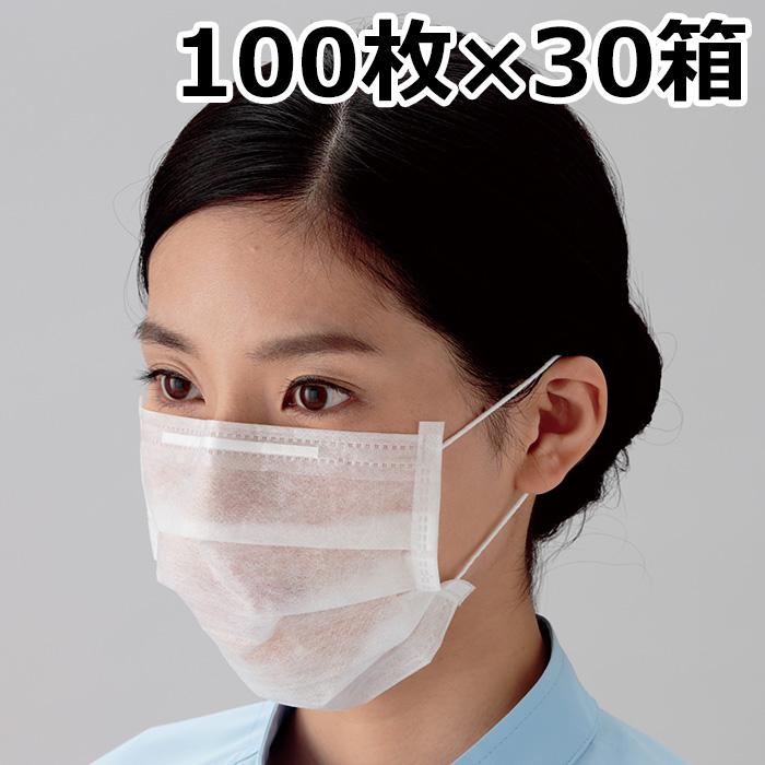 クリーンマスク 【お得用 100枚入x30箱】 F200 耳掛け式 使い捨て 100枚×30入 [ウイルス対策 花粉対策 予防]
