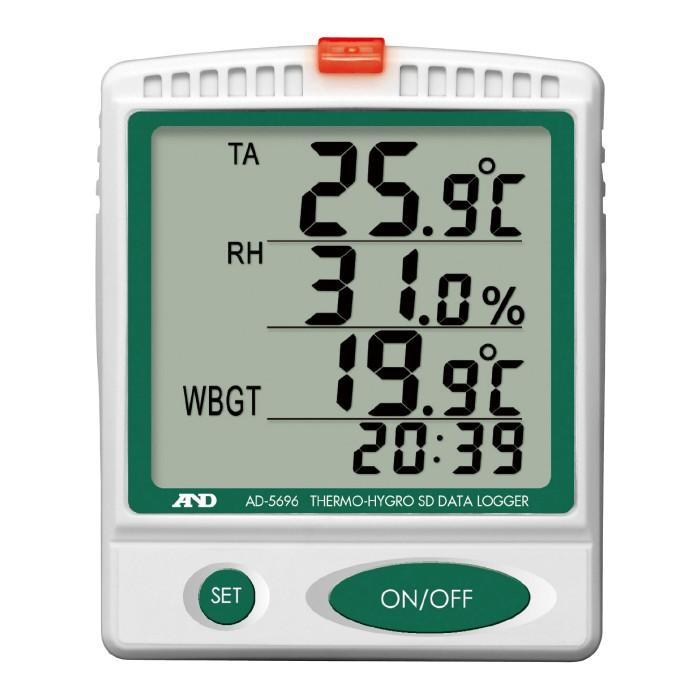 温湿度SDデータレコーダー AD-5696 [温度計 湿度計 簡易WBGT値の上限] [熱中対策 暑さ対策 夏用 冷感] 壁掛け/卓上使用可能