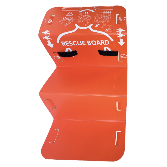 【ランキング1位】 防災用品 救助 安達紙器工業 緊急用簡易担架 レスキューボード (5つ折りタイプ) 備蓄 災害用