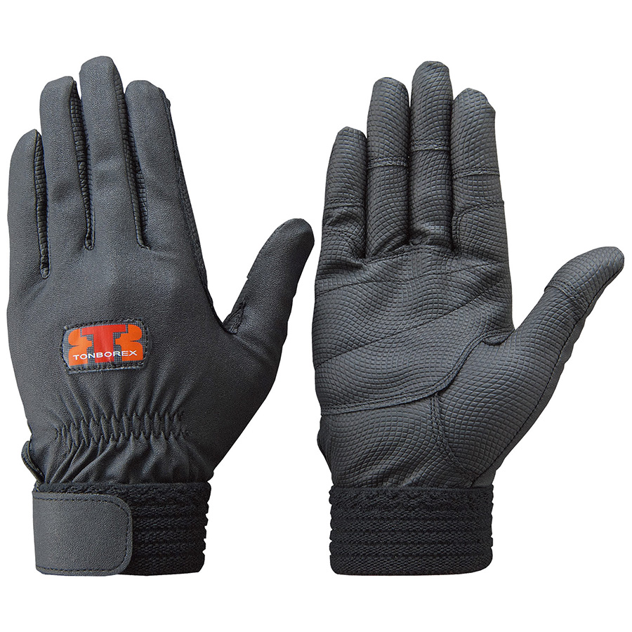 合成皮革 各部を補強し耐久性を持たせたタイプです 品質保証 合成皮革製手袋 水洗い可能 トンボレックス 合成 ギフト 皮革 E-831BK グローブ LL ブラック 作業用手袋 1双 M 作業手袋 S L