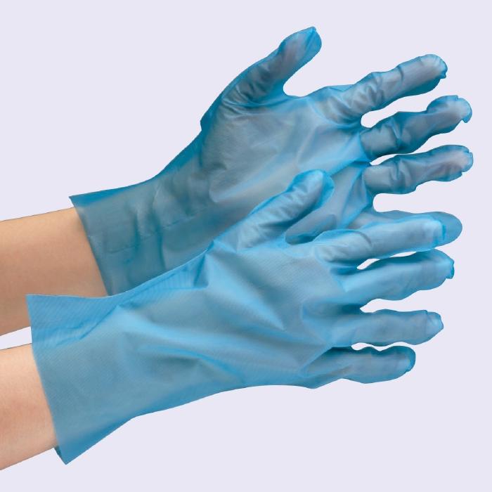ポリエチレン製ディスポ手袋 【食品業界向け】 外エンボス ベルテ572 ブルー グローブ 作業手袋 作業用手袋 (200枚×30箱)