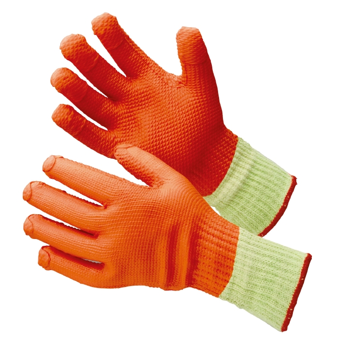 MHG-315 ハイグリップ ゴム張りハードロング グローブ 耐切創性手袋 作業手袋 5双/袋 【S/M/L/LL】