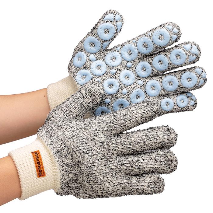 防炎製品 耐熱手袋 【アラミド繊維/熱の伝わりをおさえ、滑り止め効果があるシリコンドット付】 スーパーアツボウグ ATS-1200 グローブ 作業手袋 作業用手袋 全長約26cm