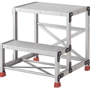 トラスコ中山 TRUSCO 工事用品 はしご・脚立 作業用踏台 アルミ合金製作業台2段 TSF256