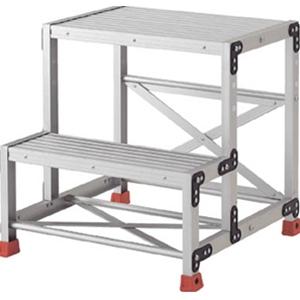 トラスコ中山 TRUSCO 工事用品 はしご・脚立 作業用踏台 アルミ合金製作業台2段 TSF257
