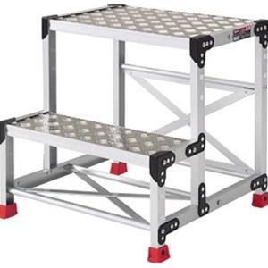 トラスコ中山 TRUSCO 工事用品 はしご・脚立 作業用踏台 アルミ合金製作業台 縞鋼板 600X400X600 TSFC266