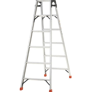 トラスコ中山 TRUSCO 工事用品 はしご・脚立 脚立 アルミ合金製はしご兼用脚立高さ1.98m THK210