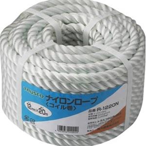 トラスコ中山 TRUSCO 作業用品 梱包結束用品 ロープ ナイロンロープ12mm×30mコイル巻 R1230N