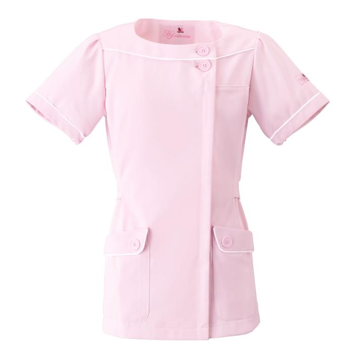 ワコールHIコレクション ナースウェア [フォーク] FOLK [ストレッチ素材] 福祉 介護 医療 白衣 看護婦 看護師 薬局衣 ワンピース HI208-3 ピンク 仕事着
