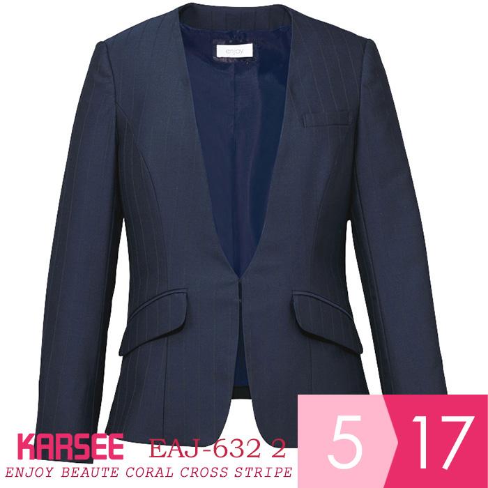 ENJOY BEAUTE MIX TRACK CHECK ジャケット [カーシー KARSEE] EAJ-632 2 ネイビー(袖長さ調節/自宅で洗濯可能/ナチュラルストレッチ/オールシーズン/多機能ポケット) [オフィスウェア 事務服 企業制服 仕事服 通勤服] レディース 女性用 (5~17号) 仕事着