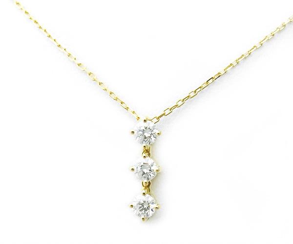 【緑屋質屋】ヴァンドーム青山 3ストーン ダイヤモンドネックレス 0.35ct K18YG【中古】