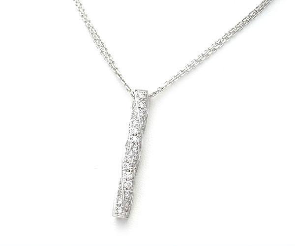 【緑屋質屋】アランルール ダイヤモンドネックレス K18WG【中古】