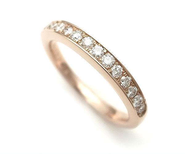 【緑屋質屋】特選ジュエリー ハーフサークルダイヤモンドリング 0.32ct K18PG【中古】