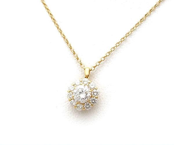【緑屋質屋】ニナリッチ ダイヤモンドネックレス 0.30ct K18YG【中古】