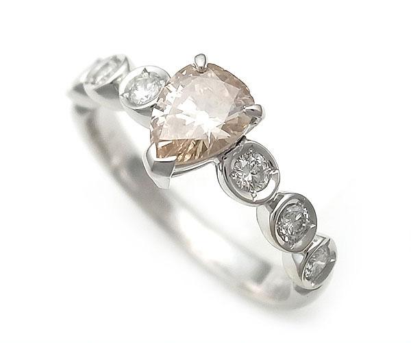 【緑屋質屋】特選ジュエリー ブラウンダイヤモンドリング 0.609ct K18WG【中古】