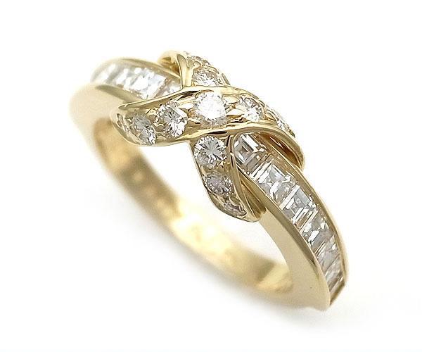 【緑屋質屋】ティファニー Xバンドリング(シグネチャーリング) ダイヤモンド K18YG【中古】
