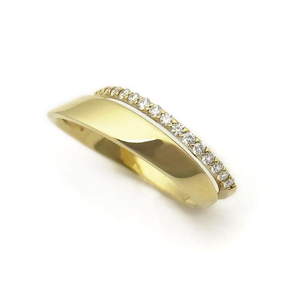 【緑屋質屋】特選ジュエリー ダイヤリング ダイヤモンド 0.20ct K18YG【中古】
