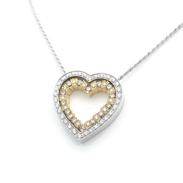 【緑屋質屋】ダミアーニ ベルエポックハートネックレス Mサイズ ダイヤモンド K18WG/YG【中古】