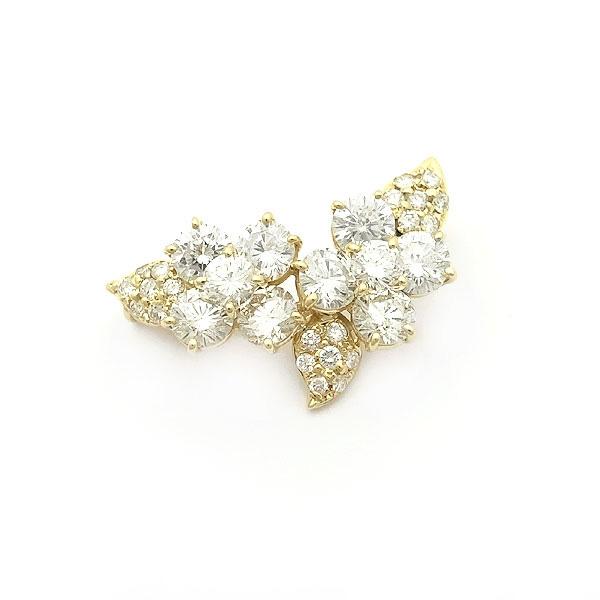 【緑屋質屋】特選ジュエリー ダイヤモンド ブローチ 3.25ct K18YG【中古】