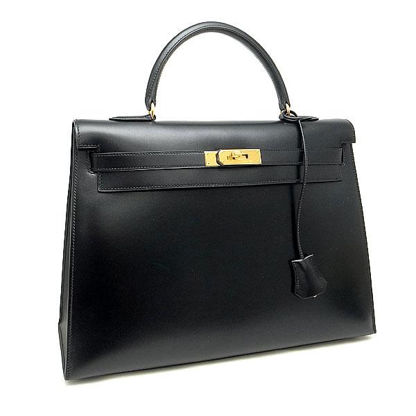 【緑屋質屋】エルメス ケリーバッグ 35cm 外縫い BOXカーフ/黒【中古】