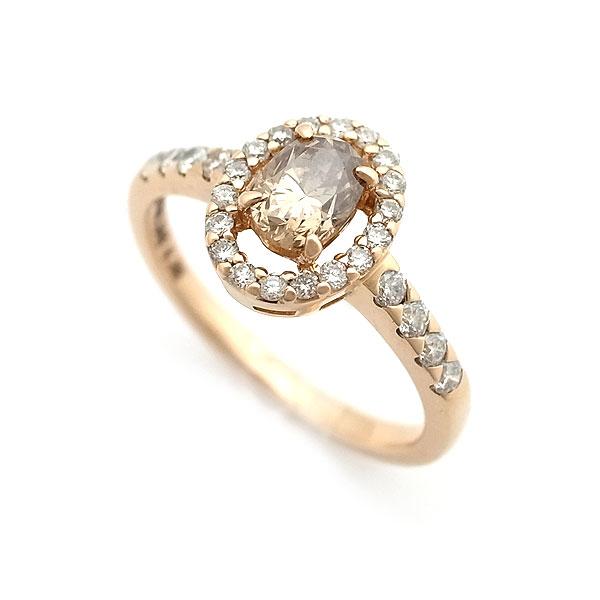 【緑屋質屋】特選ジュエリー ブラウンダイヤモンド リング 0.542ct K18PG【中古】