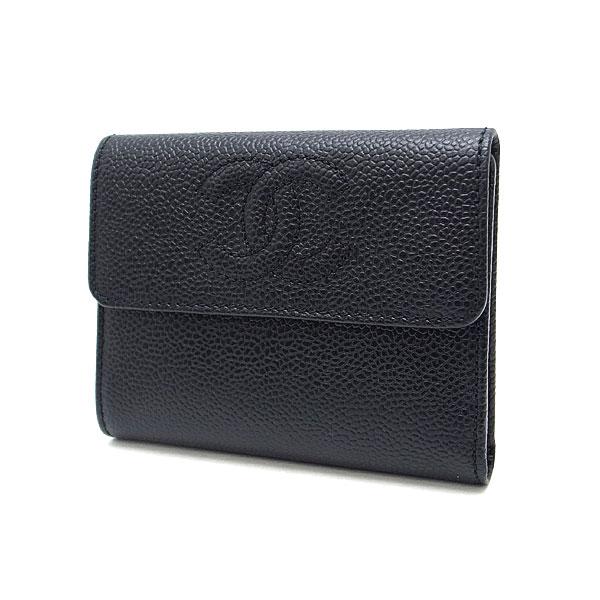 【緑屋質屋】シャネル A13226 三つ折り財布 キャビアスキン/黒【中古】