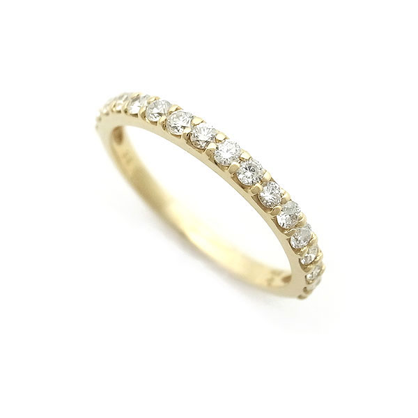【緑屋質屋】ポンテヴェキオ ハーフサークル ダイヤモンド リング 0.35ct K18YG【中古】