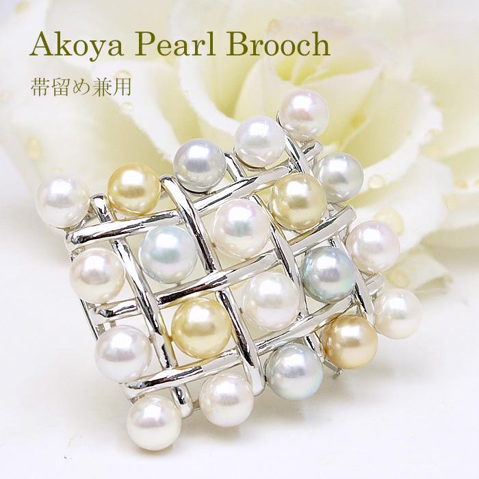 パール ブローチ(6521)帯留 コサージュ スクエア シルバー アコヤ真珠 8.0~9.0mm マルチ 母の日 入学式 卒業式 フォーマル 結婚式 パーティー 送料無料