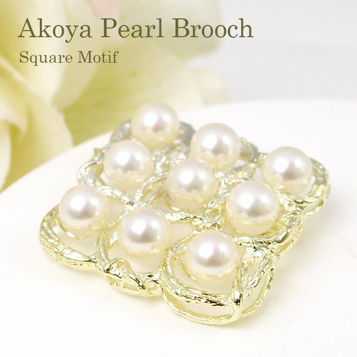 パール ブローチ(6538)コサージュ スクエア シルバー アコヤ真珠 7.5mm 母の日 入学式 卒業式 フォーマル 結婚式 パーティー 送料無料